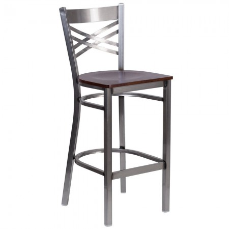 "Flash Furniture XU-6F8B-CLR-BAR-WALW-GG HERCULES Clear Coated ""X"" Back Metal Restaurant Barstool - Walnut Wood Seat"