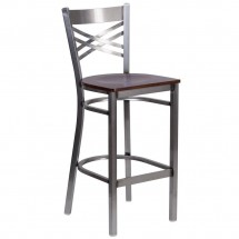 Flash Furniture XU-6F8B-CLR-BAR-WALW-GG HERCULES Clear Coated X Back Metal Restaurant Barstool - Walnut Wood Seat