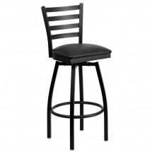 Flash Furniture XU-6F8B-LADSWVL-BLKV-GG HERCULES Series Black Ladder Back Swivel Metal Bar Stool - Black Vinyl Seat