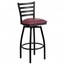 Flash Furniture XU-6F8B-LADSWVL-BURV-GG HERCULES Series Black Ladder Back Swivel Metal Bar Stool - Burgundy Vinyl Seat