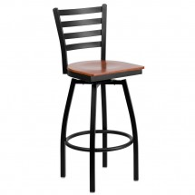 Flash Furniture XU-6F8B-LADSWVL-CHYW-GG HERCULES Series Black Ladder Back Swivel Metal Bar Stool - Cherry Wood Seat