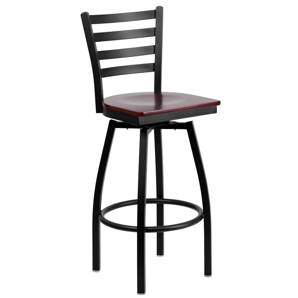 Flash Furniture XU-6F8B-LADSWVL-MAHW-GG HERCULES Series Black Ladder Back Swivel Metal Bar Stool - Mahogany Wood Seat