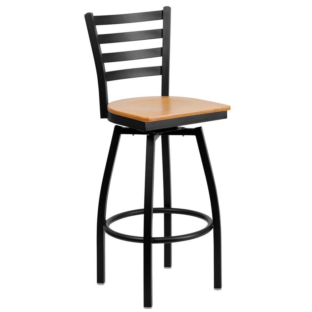 Flash Furniture XU-6F8B-LADSWVL-NATW-GG HERCULES Series Black Ladder Back Swivel Metal Bar Stool - Natural Wood Seat