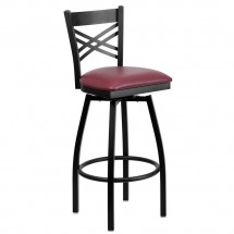 Flash Furniture XU-6F8B-XSWVL-BURV-GG HERCULES Series Black ''X'' Back Swivel Metal Bar Stool - Burgundy Vinyl Seat