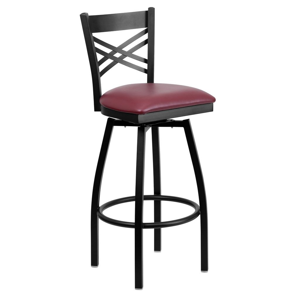 "Flash Furniture XU-6F8B-XSWVL-BURV-GG HERCULES Series Black ""X"" Back Swivel Metal Bar Stool - Burgundy Vinyl Seat"
