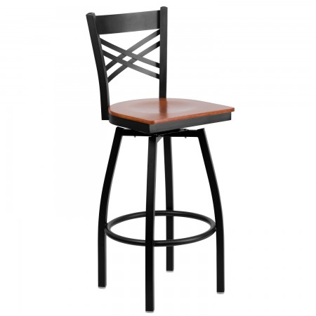 "Flash Furniture XU-6F8B-XSWVL-CHYW-GG HERCULES Black ""X"" Back Swivel Metal Barstool - Cherry Wood Seat"