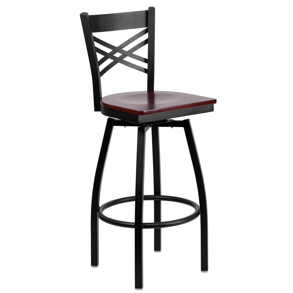 "Flash Furniture XU-6F8B-XSWVL-MAHW-GG HERCULES Series Black ""X"" Back Swivel Metal Bar Stool - Mahogany Wood Seat"