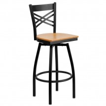 "Flash Furniture XU-6F8B-XSWVL-NATW-GG HERCULES Series Black ""X"" Back Swivel Metal Bar Stool - Natural Wood Seat"