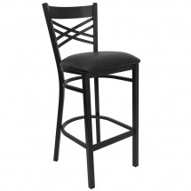"Flash Furniture XU-6F8BXBK-BAR-BLKV-GG HERCULES Series Black ""X"" Back Metal Restaurant Bar Stool with Black Vinyl Seat"