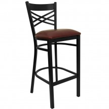 "Flash Furniture XU-6F8BXBK-BAR-BURV-GG HERCULES Series Black ""X"" Back Metal Restaurant Bar Stool - Burgundy Vinyl Seat"