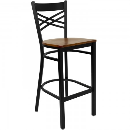 "Flash Furniture XU-6F8BXBK-BAR-CHYW-GG HERCULES Black ""X"" Back Metal Restaurant Barstool - Cherry Wood Seat"