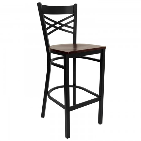 "Flash Furniture XU-6F8BXBK-BAR-MAHW-GG HERCULES Black ""X"" Back Metal Restaurant Barstool - Mahogany Wood Seat"