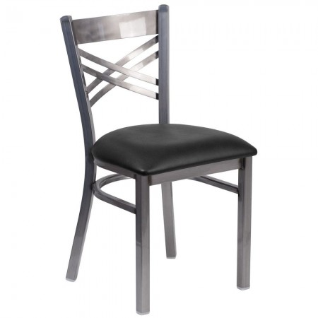 "Flash Furniture XU-6FOB-CLR-BLKV-GG HERCULES Clear Coated ""X"" Back Metal Restaurant Chair - Black Vinyl Seat"