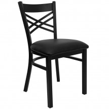 Flash Furniture XU-6FOBXBK-BLKV-GG HERCULES Series Black ''X'' Back Metal Restaurant Chair - Black Vinyl Seat