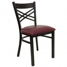 Flash Furniture XU-6FOBXBK-BURV-GG HERCULES Series Black ''X'' Back Metal Restaurant Chair - Burgundy Vinyl Seat