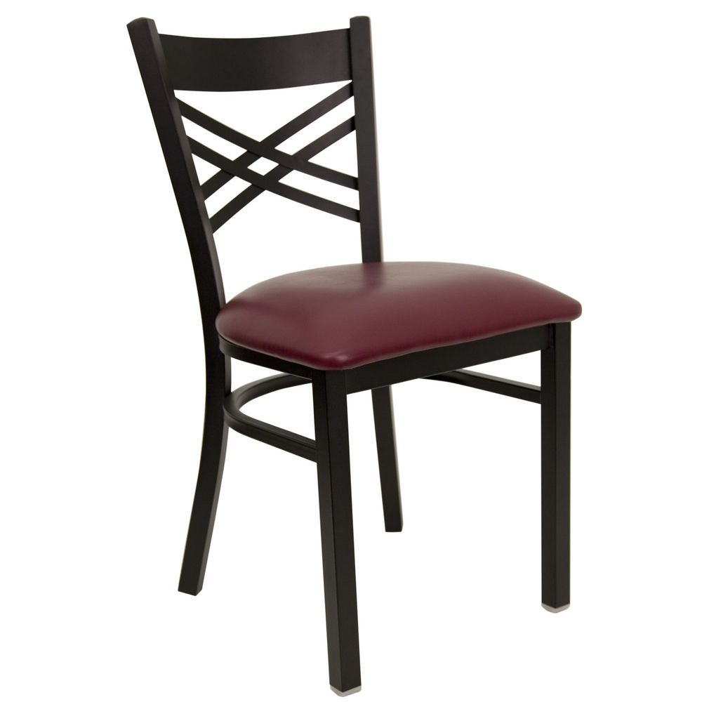 "Flash Furniture XU-6FOBXBK-BURV-GG HERCULES Series Black ""X"" Back Metal Restaurant Chair - Burgundy Vinyl Seat"