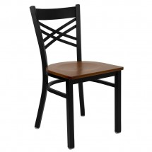 "Flash Furniture XU-6FOBXBK-CHYW-GG HERCULES Series Black ""X"" Back Metal Restaurant Chair - Cherry Wood Seat"