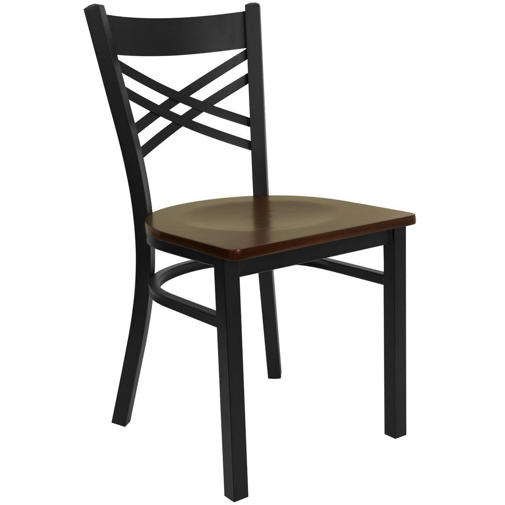 "Flash Furniture XU-6FOBXBK-MAHW-GG HERCULES Series Black ""X"" Back Metal Restaurant Chair - Mahogany Wood Seat"