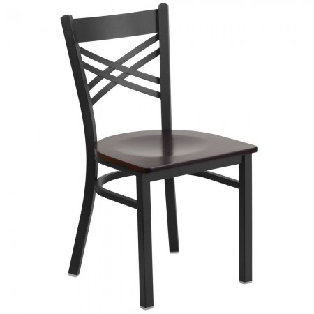 "Flash Furniture XU-6FOBXBK-WALW-GG HERCULES Black ""X"" Back Metal Restaurant Chair - Walnut Wood Seat"