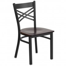 Flash Furniture XU-6FOBXBK-WALW-GG HERCULES Black X Back Metal Restaurant Chair - Walnut Wood Seat