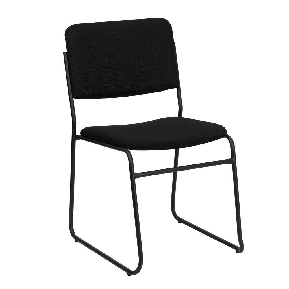 Flash Furniture XU-8700-BLK-B-30-GG HERCULES Series 1500 lb. Capacity High Density Black Fabric Stacking Chair with Sled Base