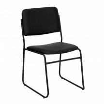 Flash Furniture XU-8700-BLK-B-VYL-30-GG HERCULES Series 1500 lb. Capacity High Density Black Vinyl Stacking Chair with Sled Base