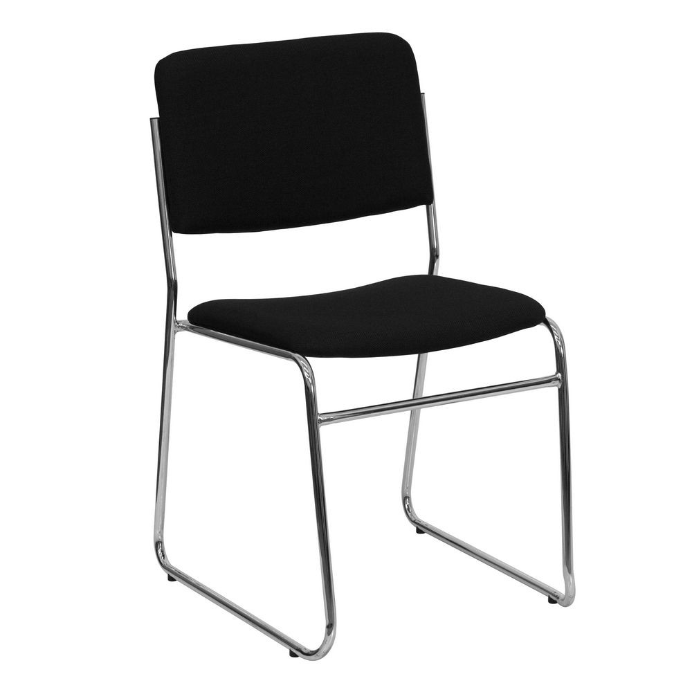 Flash Furniture XU-8700-CHR-B-30-GG HERCULES Series Black Fabric High Density Stacking Chair with Chrome Sled Base, 1000 lb. Capacity