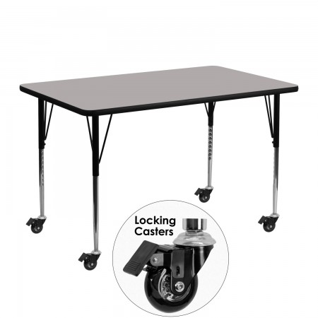 """Flash Furniture XU-A2448-REC-GY-H-A-CAS-GG Mobile Rectangular Activity Table with High Pressure Grey Laminate Top, Standard Height Adjustable Legs 24"""" x 48"""""""