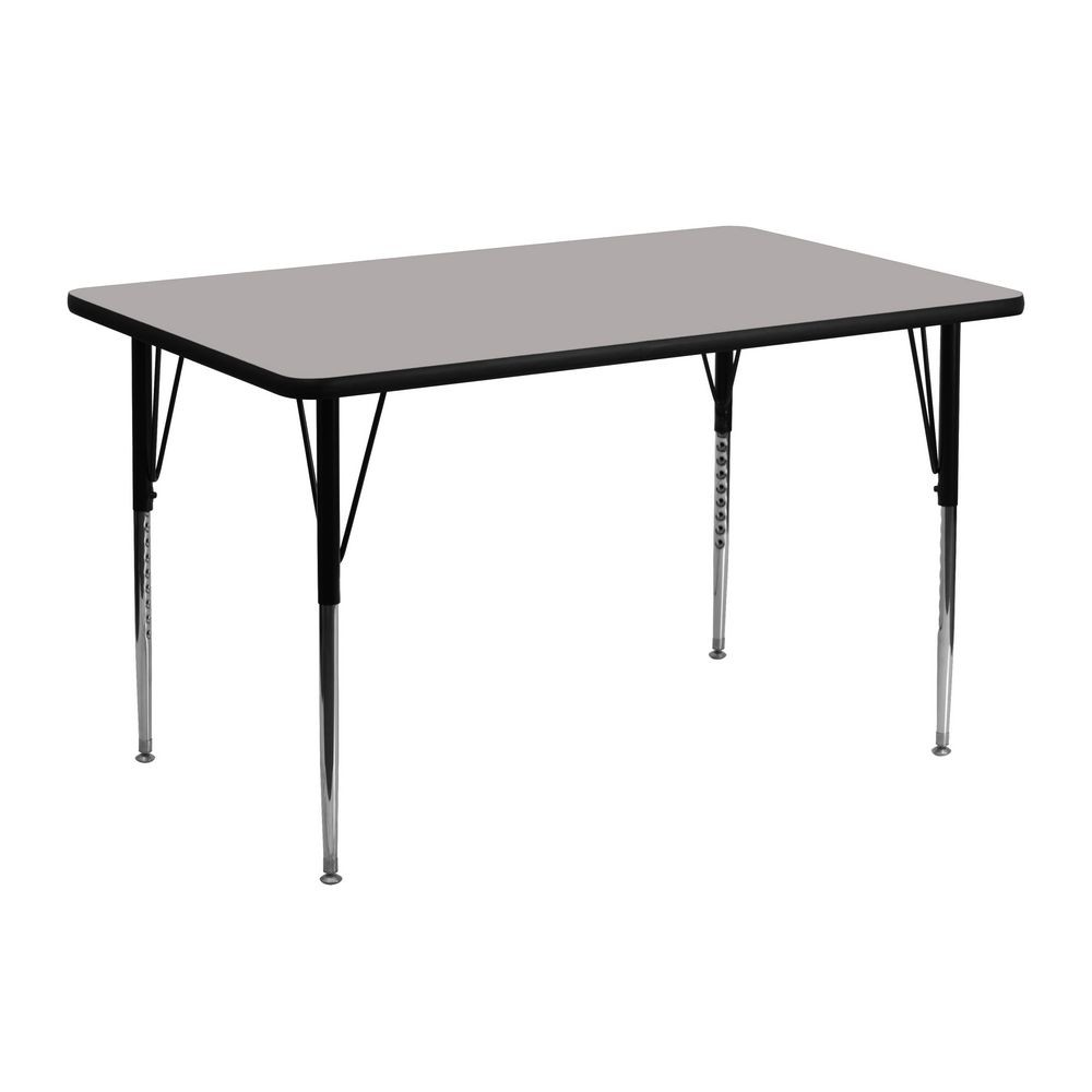 "Flash Furniture XU-A2448-REC-GY-H-A-GG Rectangular Activity Table with High Pressure Grey Laminate Top and Height Adjustable Legs 24"" x 48&quot ;"