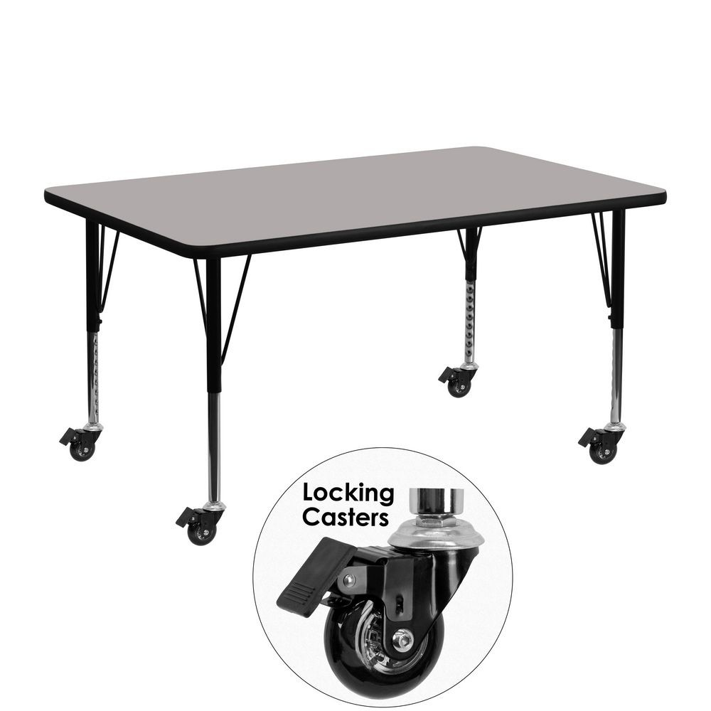 "Flash Furniture XU-A2448-REC-GY-H-P-CAS-GG Mobile 24"" x 48"" Rectangular Activity Table, High Pressure Grey Laminate Top, Ht. Adjustable Pre-School Legs"