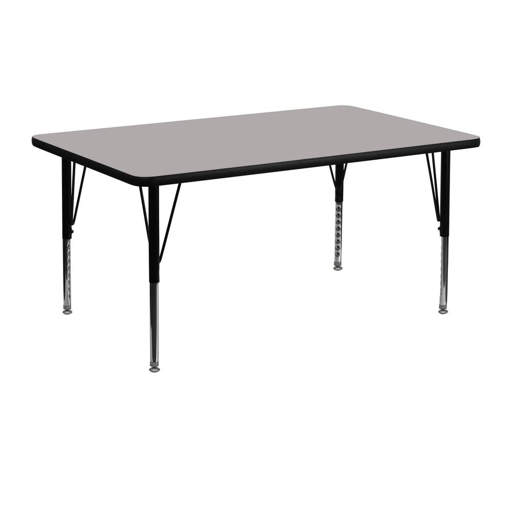 "Flash Furniture XU-A2448-REC-GY-H-P-GG Rectangular Activity Table with High Pressure Grey Laminate Top and Height Adjustable Legs 24"" x 48"""