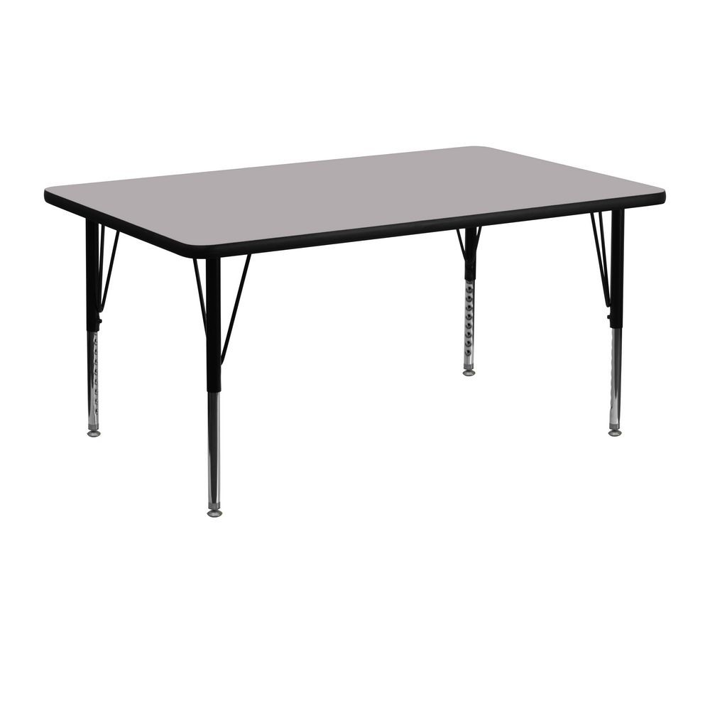 "Flash Furniture XU-A2448-REC-GY-T-P-GG Rectangular Activity Table with Thermal Fused Grey Laminate Top and Height Adjustable Legs 24"" x 48"""