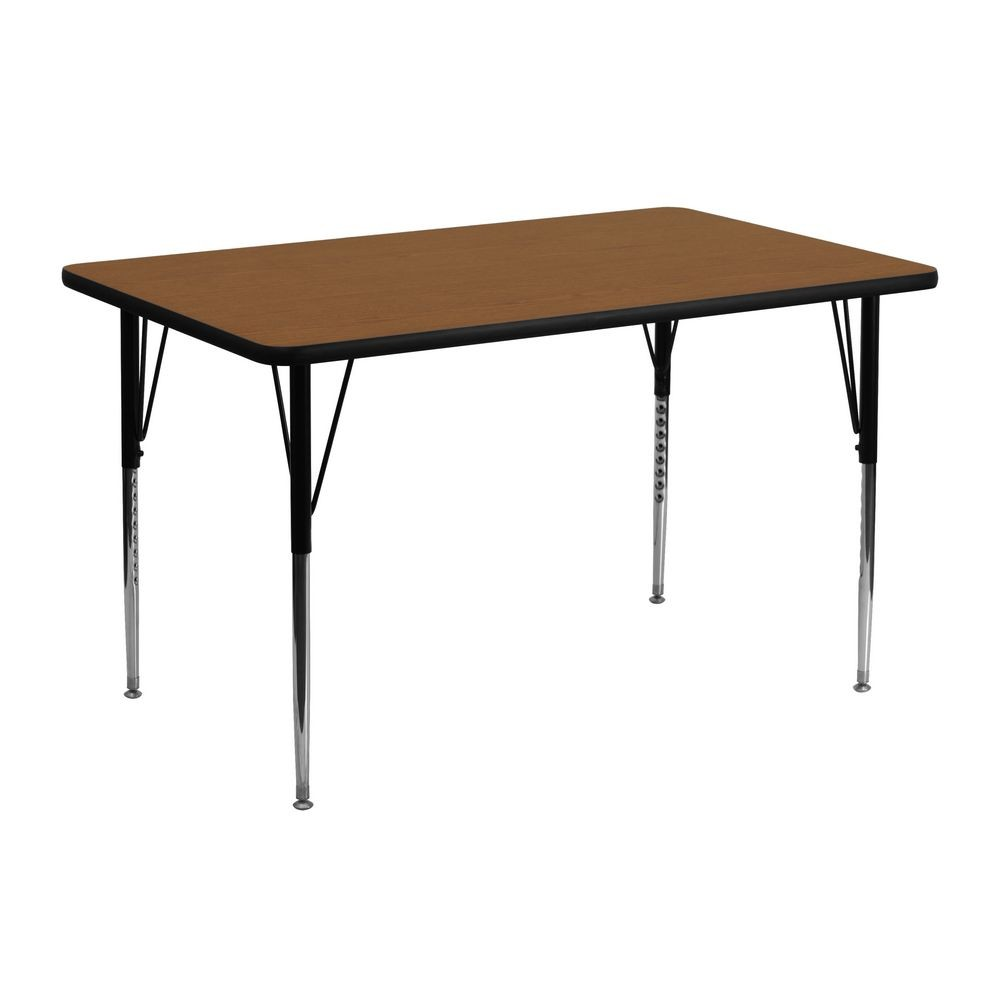 "Flash Furniture XU-A2448-REC-OAK-H-A-GG Rectangular Activity Table with High Pressure Oak Laminate Top, Standard Height Adjustable Legs 24"" x 48"""
