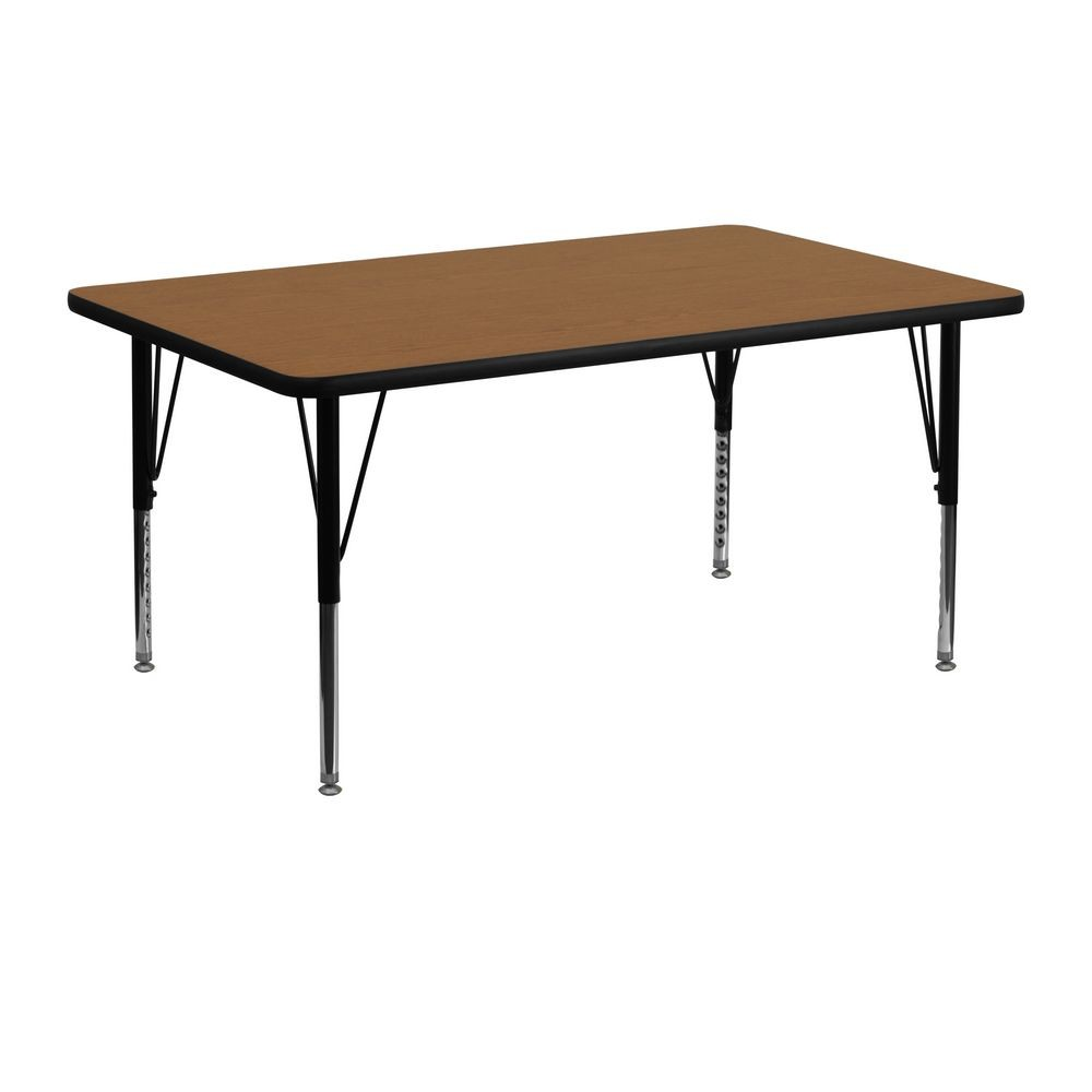 "Flash Furniture XU-A2448-REC-OAK-T-P-GG Rectangular Activity Table with Thermal Fused Oak Laminate Top and Height Adjustable Legs 24"" x 48"""