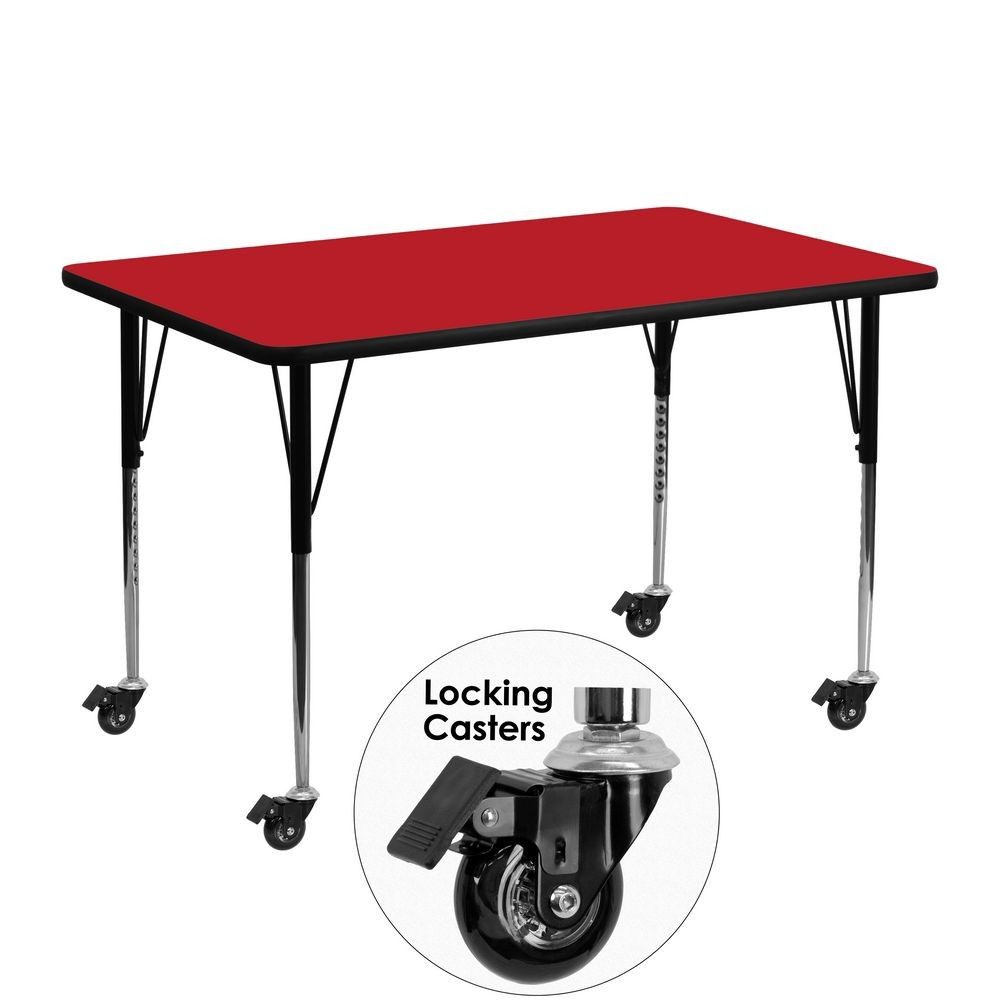 "Flash Furniture XU-A2448-REC-RED-H-A-CAS-GG Mobile Rectangular Activity Table, High Pressure Red Laminate Top, Standard Height Adjustable Legs 24"" x 48"""