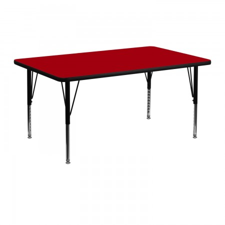 "Flash Furniture XU-A2448-REC-RED-H-P-GG Rectangular Activity Table with Thermal Fused Red Laminate Top and Height Adjustable Legs 24"" x 48"""