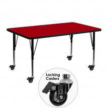 "Flash Furniture XU-A2448-REC-RED-T-P-CAS-GG Mobile Rectangular Activity Table with Red Thermal Fused Laminate Top and Height Adjustable Pre-School Legs 24"" x 48"""