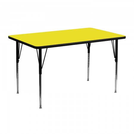 "Flash Furniture XU-A2448-REC-YEL-H-A-GG Rectangular Activity Table, High Pressure Yellow Laminate Top, Standard Height Adjustable Legs 24"" x 48"""
