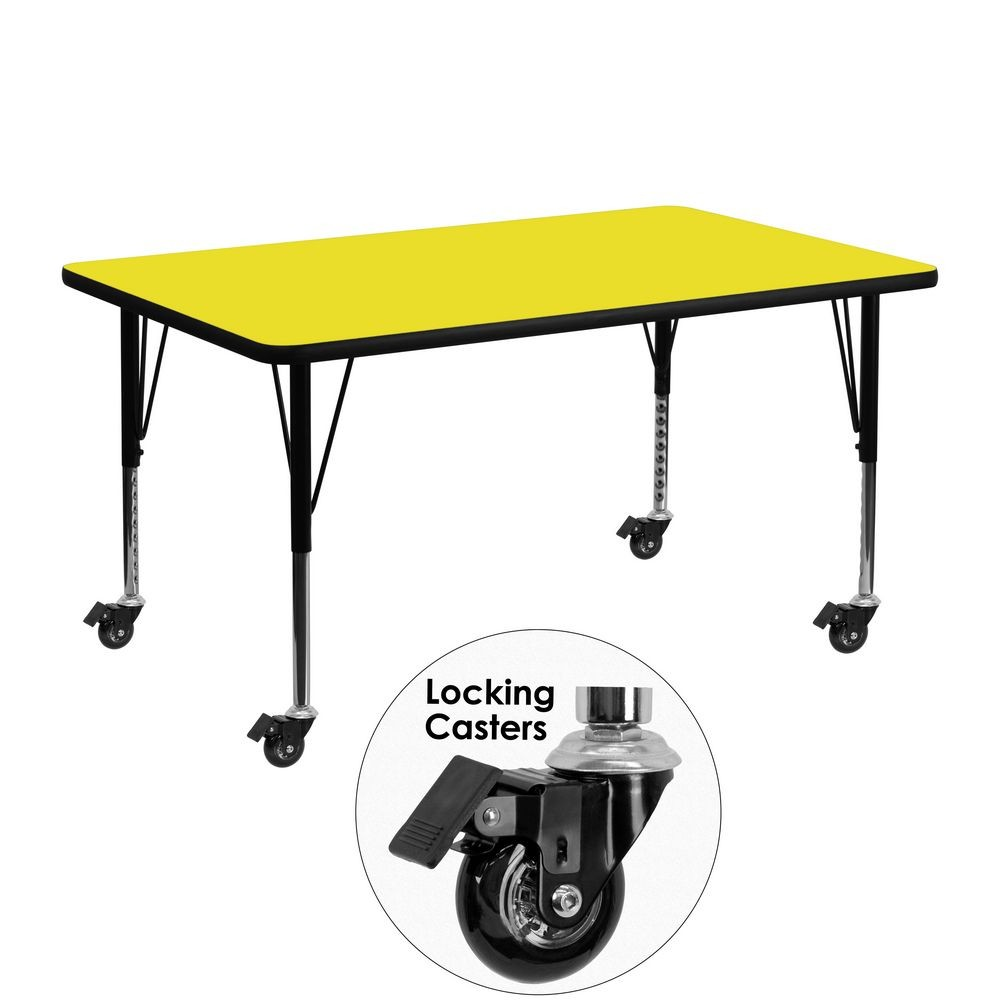"Flash Furniture XU-A2448-REC-YEL-H-P-CAS-GG Mobile Rectangular Activity Table with High Pressure Yellow Laminate Top and Height Adjustable Pre-School Legs 24"" x 48"""