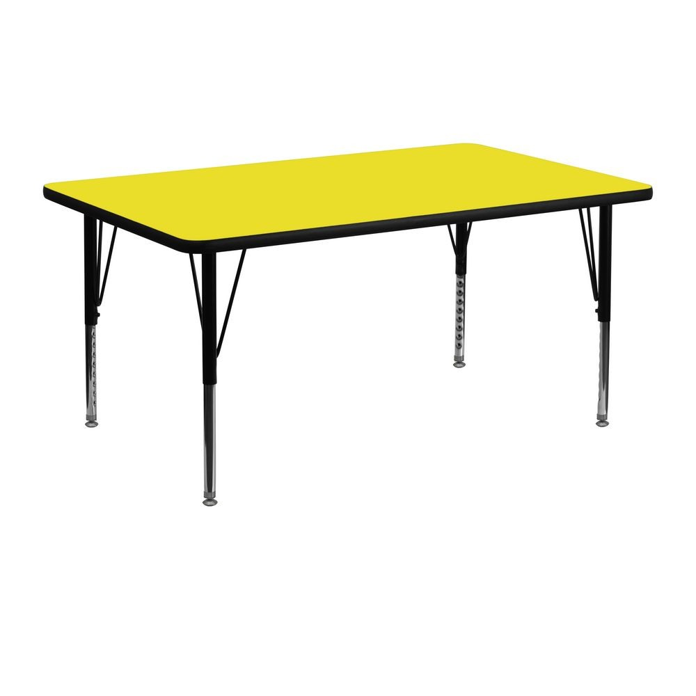 "Flash Furniture XU-A2448-REC-YEL-H-P-GG Rectangular Activity Table with High Pressure Yellow Laminate Top and Height Adjustable Legs 24"" x 48"""