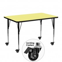 "Flash Furniture XU-A2448-REC-YEL-T-A-CAS-GG Mobile 24"" x 48"" Rectangular Activity Table, Yellow Thermal Fused Laminate Top, Standard Ht. Adjustable Legs"