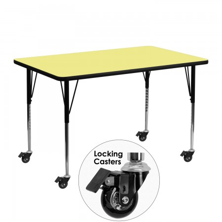 "Flash Furniture XU-A2448-REC-YEL-T-A-CAS-GG Mobile Rectangular Activity Table with Yellow Thermal Fused Laminate Top, Standard Height Adjustable Legs 24"" x 48"""