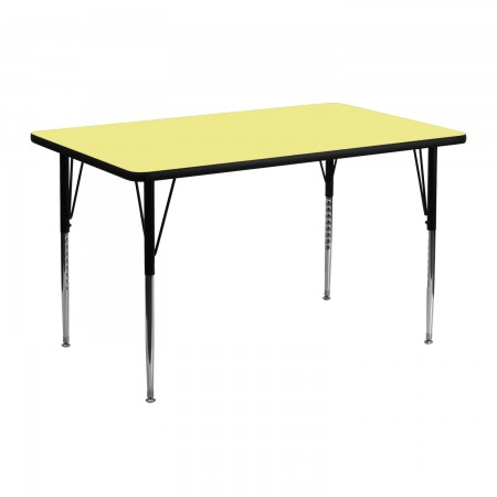 """Flash Furniture XU-A2448-REC-YEL-T-A-GG Rectangular Activity Table with Yellow Thermal Fused Laminate Top and Standard Height Adjustable Legs 24"""" x 48"""""""