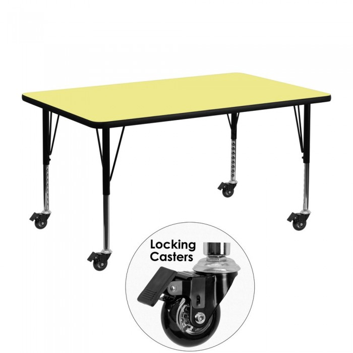 "Flash Furniture XU-A2448-REC-YEL-T-P-CAS-GG Mobile Rectangular Activity Table with Yellow Thermal Fused Laminate Top and Height Adjustable Pre-School Legs 24"" x 48"""