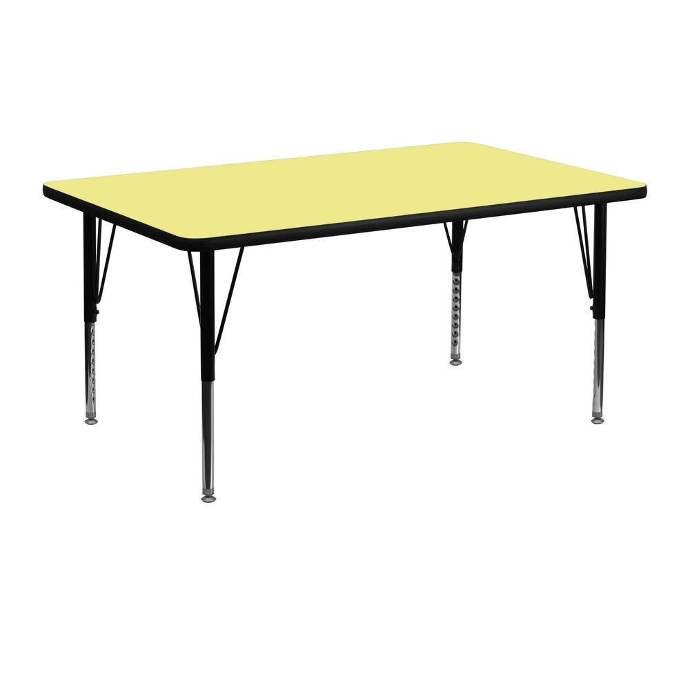 "Flash Furniture XU-A2448-REC-YEL-T-P-GG Rectangular Activity Table with Yellow Thermal Fused Laminate Top, Height Adjustable Pre-School Legs 24"" x 4"""
