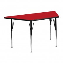"""Flash Furniture XU-A2448-TRAP-RED-H-A-GG Trapezoid Activity Table, High Pressure Red Laminate Top, Standard Height Adjustable Legs 24"""" x 48"""""""