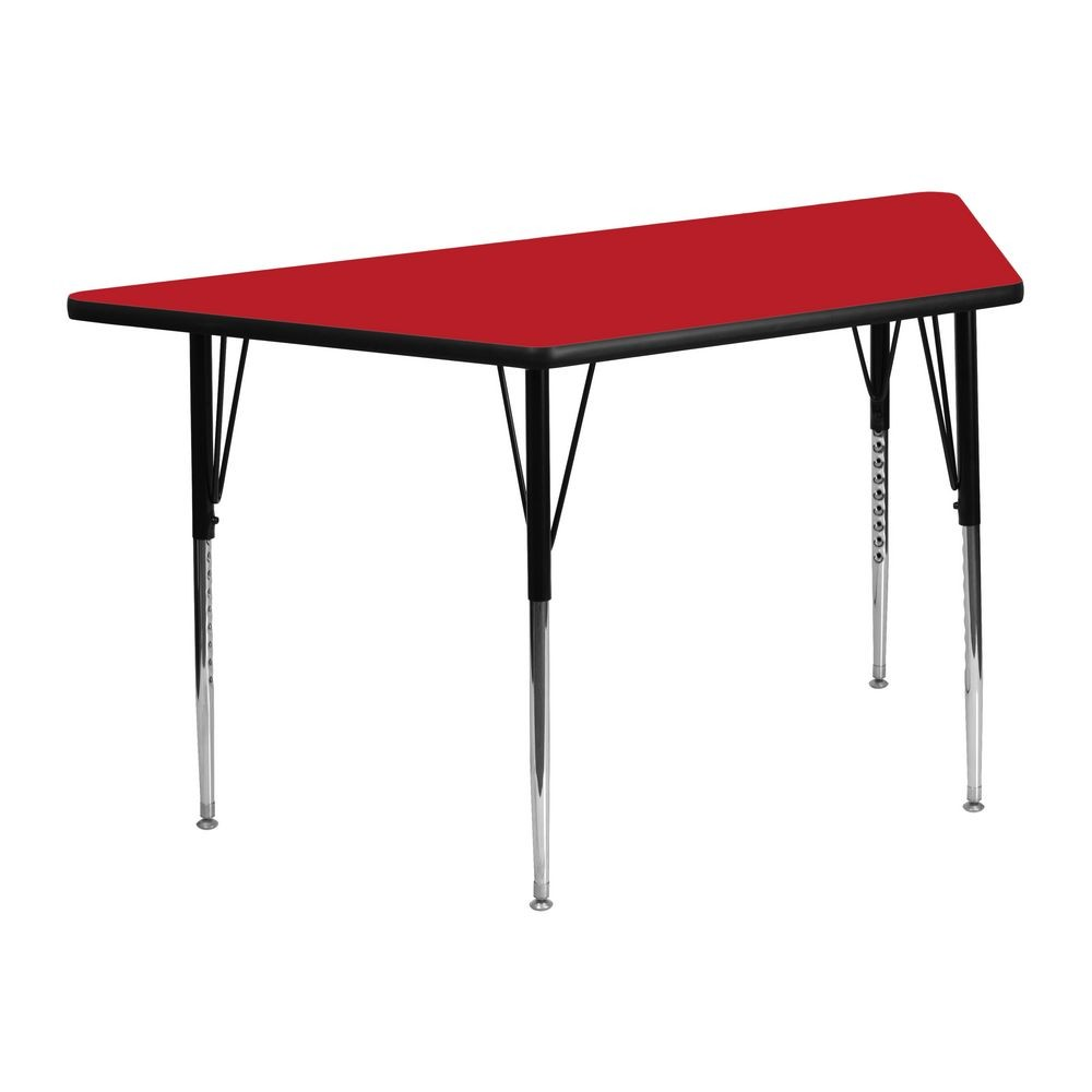 "Flash Furniture XU-A2448-TRAP-RED-H-A-GG Trapezoid Activity Table, High Pressure Red Laminate Top, Standard Height Adjustable Legs 24"" x 48"""