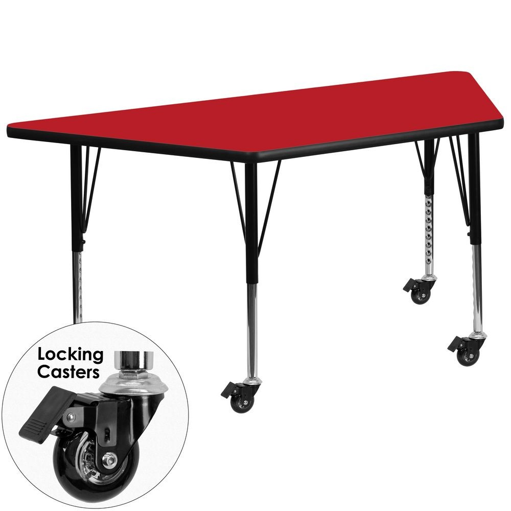 "Flash Furniture XU-A2448-TRAP-RED-H-P-CAS-GG Mobile Trapezoid Activity Table with High Pressure Red Laminate Top and Height Adjustable Pre-School Legs 24"" x 48"""
