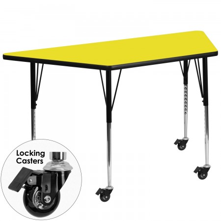 """Flash Furniture XU-A2448-TRAP-YEL-H-A-CAS-GG Mobile Trapezoid Activity Table with High Pressure Yellow Laminate Top, Standard Height Adjustable Legs 24"""" x 48"""""""