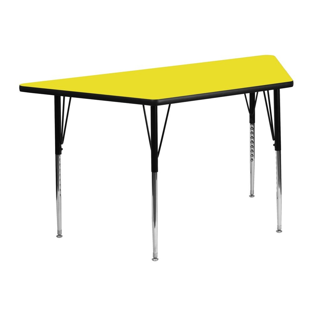 "Flash Furniture XU-A2448-TRAP-YEL-H-A-GG Trapezoid Activity Table, High Pressure Yellow Laminate Top, Standard Height Adjustable Legs 24"" x 48"""